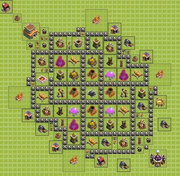 Схема постройки базы в clash of clans.